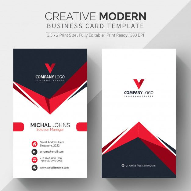 Download Red Shape Visit Card For Free Free Business Card