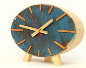 Orange and blue clock from an etsy treasury.