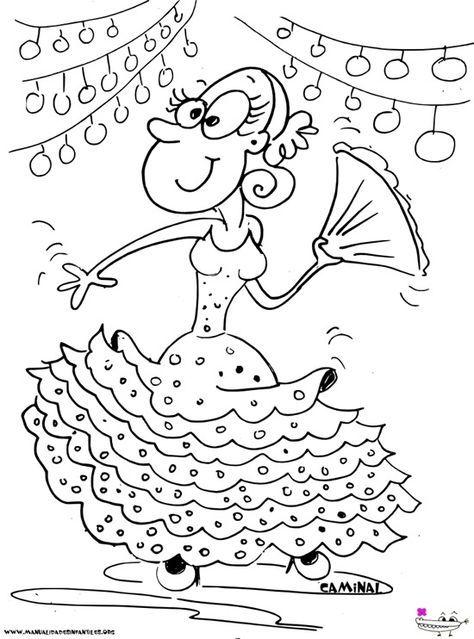 Dibujo de Gitana Feria de Abril. Puedes colorear y descargar gratis este dibujo para tus niños: http://www.manualidadesinfantiles.org/dibujo-de-gitana-feria-de-abril