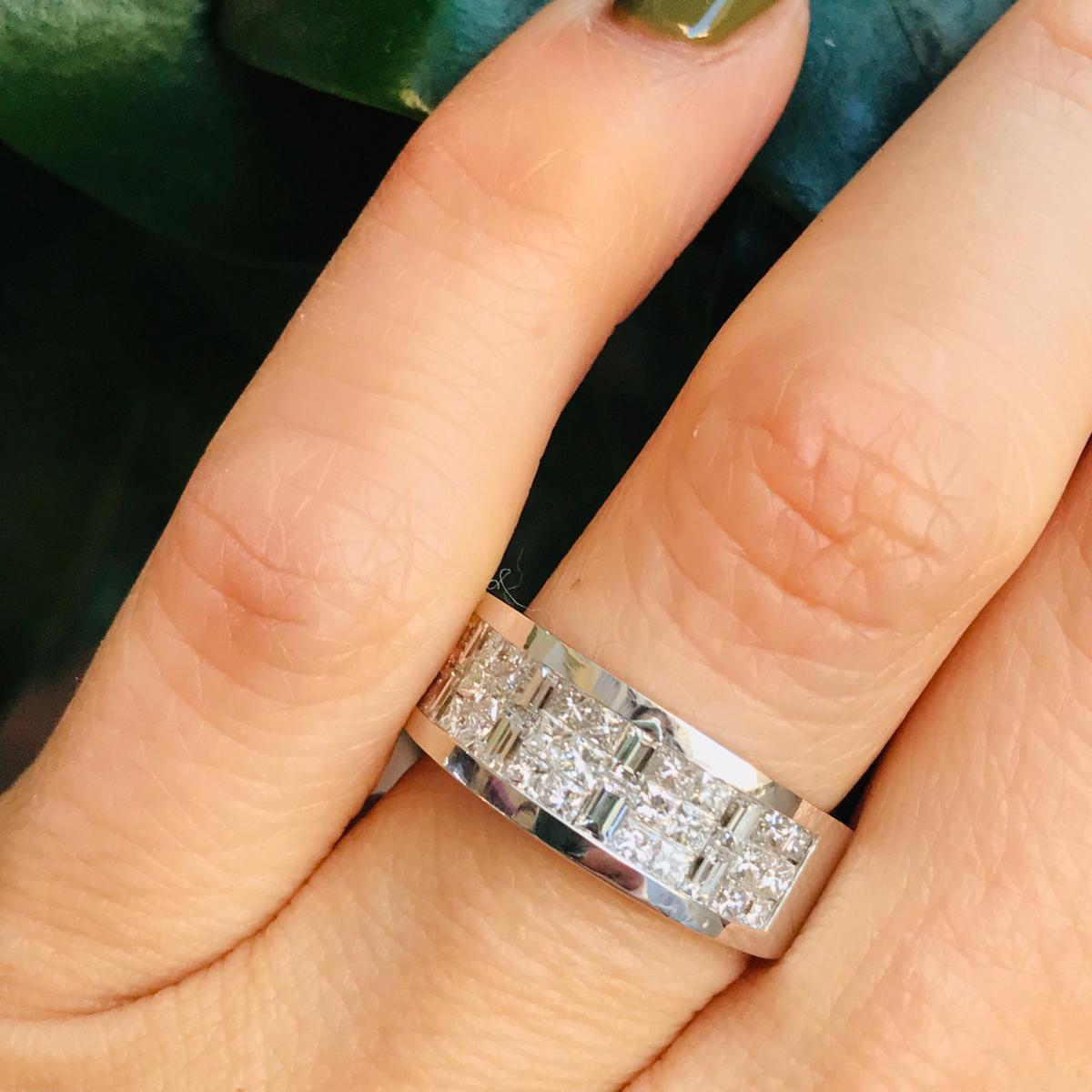 Princess Baguette Invisible Set Diamond Women Wedding Band 14k