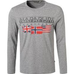 Photo of Napapijri Herren Langarm-Shirt, Baumwolle, dunkelgrau Napapijri