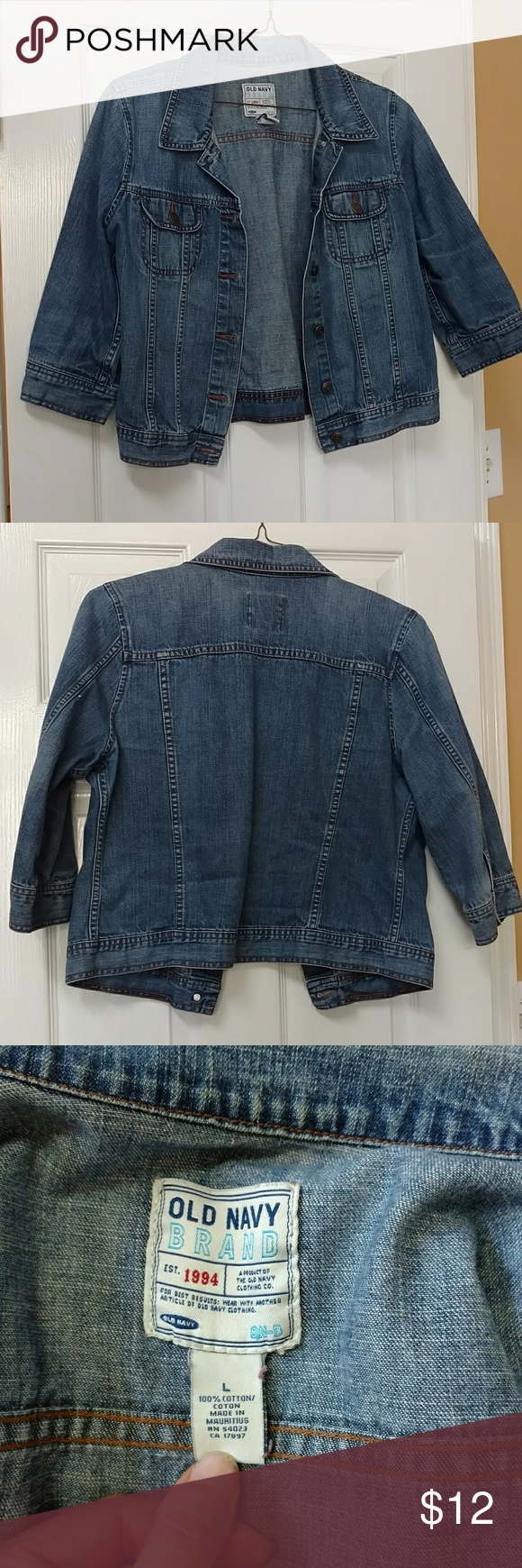 Old Navy Denim 3/4 sleeve jacket Cute denim jacket with 3/4 sleeves... Roll them for a longer short sleeved look, or wear as is. Broken in and soft... You'll love it. Old Navy Jackets & Coats Jean Jackets