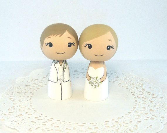 I LOVE these little ladies!!  Lesbian Wedding Cake Toppers