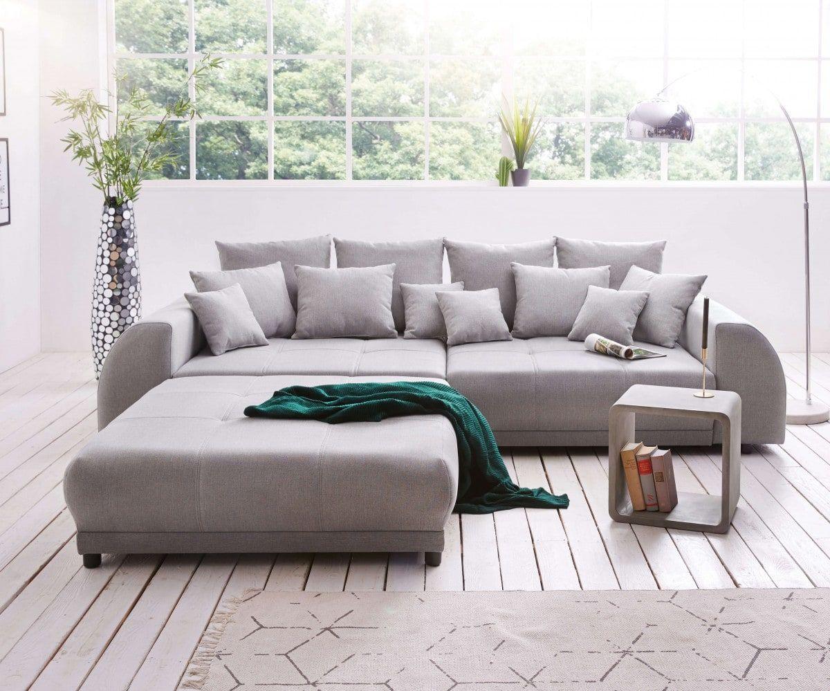 Delife Eu Big Sofa Violetta 310x135 Cm Grau Inklusive Hocker Mobel Sofas Big Sofas Sofa Hocker Couch Mobel Mobel Sofa