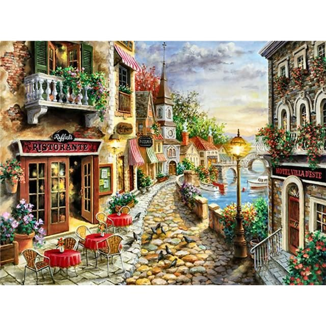 Photo of 5D Diamond Painting Landscape Sunset Sea View Square/Round Embroidery Cross Stitch Kit Painting Mosaic DIY Home Decoration Gift Diamond Painting Cross Stitch  – Orange / Round Drill 30X40CM