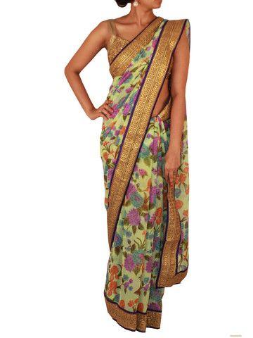 Pista Green Floral Printed Chiffon Saree | Sweta Sutariya