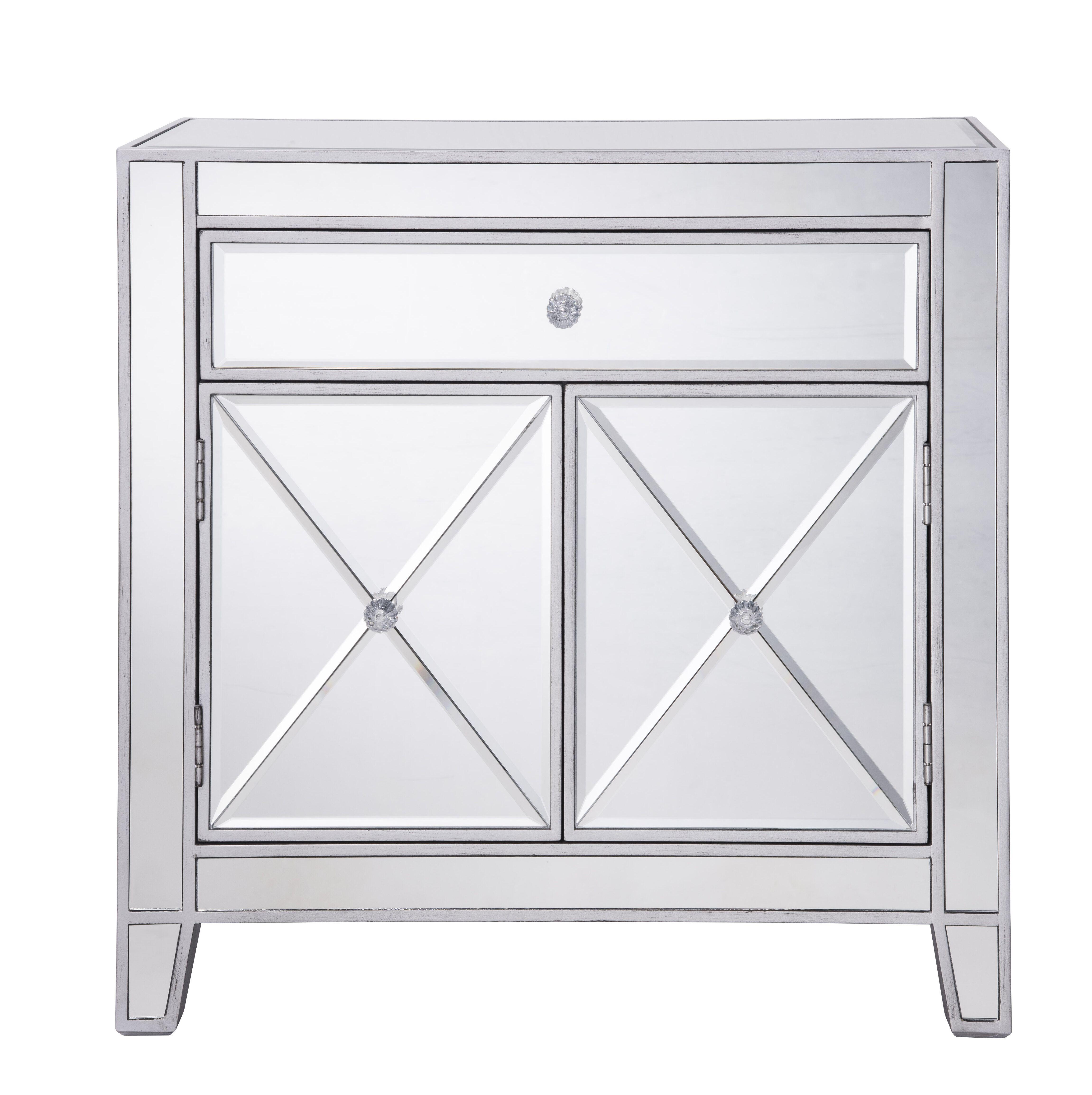 Rosdorf Park Emerita 1 Drawer Mirrored Accent Cabinet Wayfair Accent Cabinet Accent Mirrors Elegant Decor