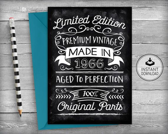 picture about Printable 50th Birthday Cards called 50th Birthday Card / Chalkboard Card 50th Birthday