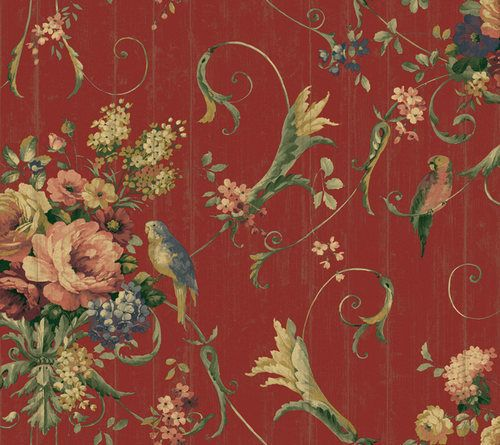 French Cottage Bird Rose Floral Wallpaper eBay For the