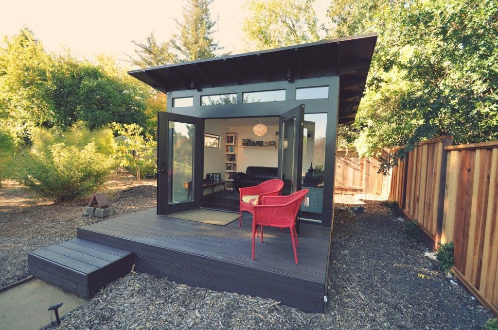 Contemporary Deck With Exterior Stone Floors By Angela K Sams Zillow Digs Backyard Storage Sheds Prefab Sheds Backyard Office