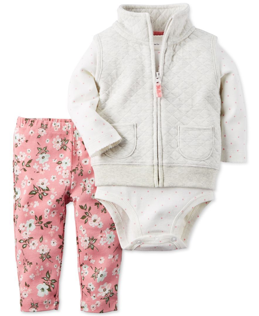 a628047e3 Carter's Baby Girls' 3-Pc. Quilted Vest, Dot-Print Bodysuit & Floral-Print  Leggings Set