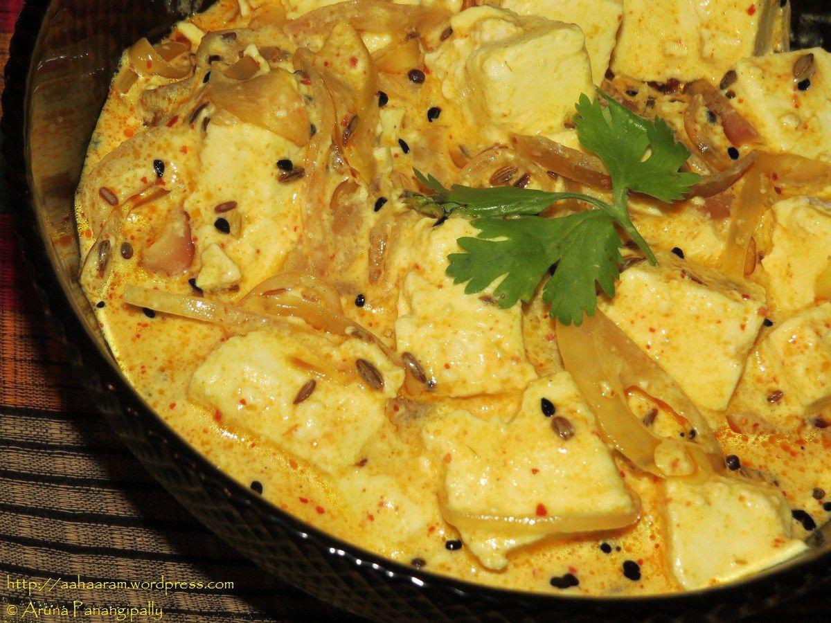 achari paneer cottage cheese in a spicy yogurt gravy cottage