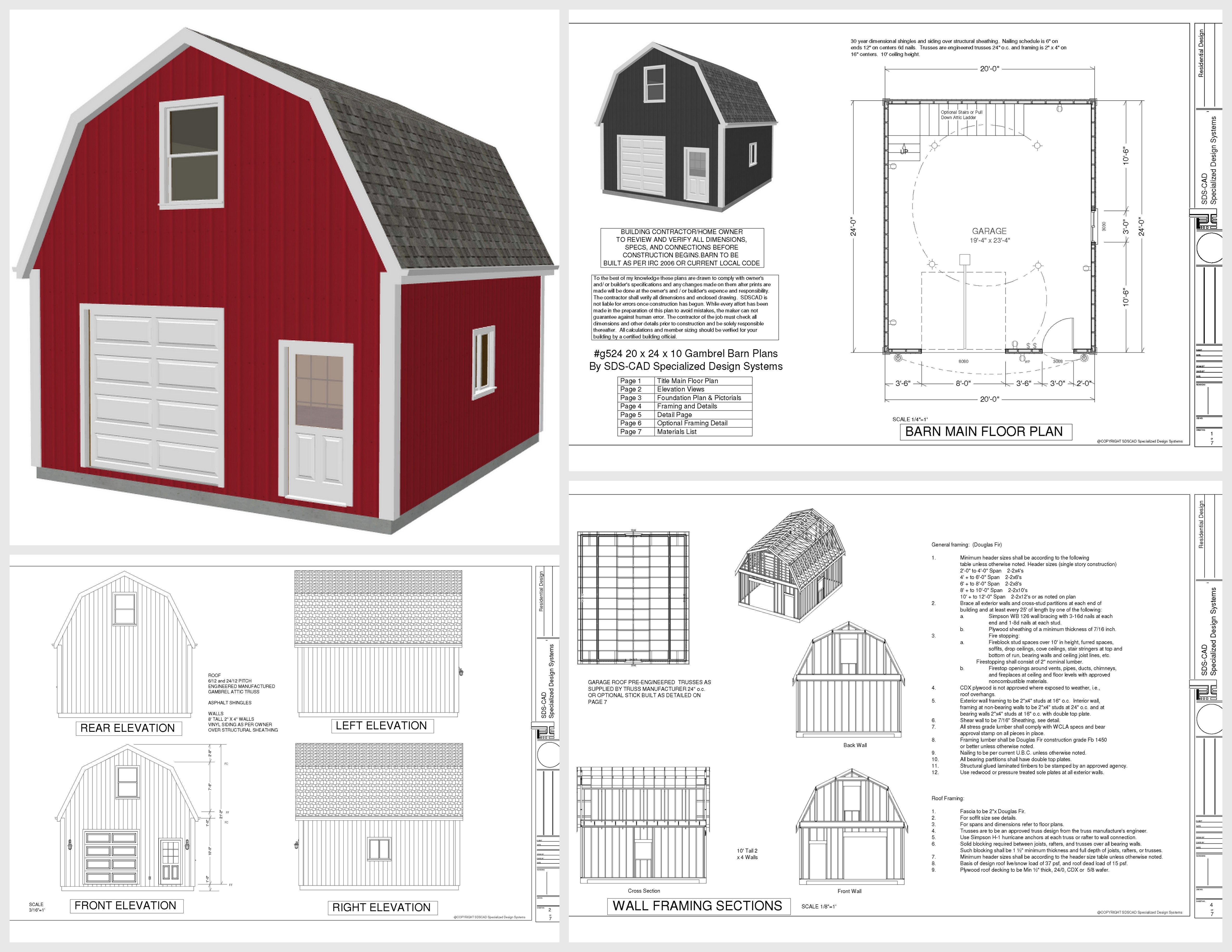 G524 20 x 24 x 10 gambrel garage barn plans pdf and dwg for American barn house floor plans