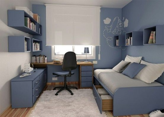 I colori adatti per le pareti di casa - Cameretta blu grigio ...