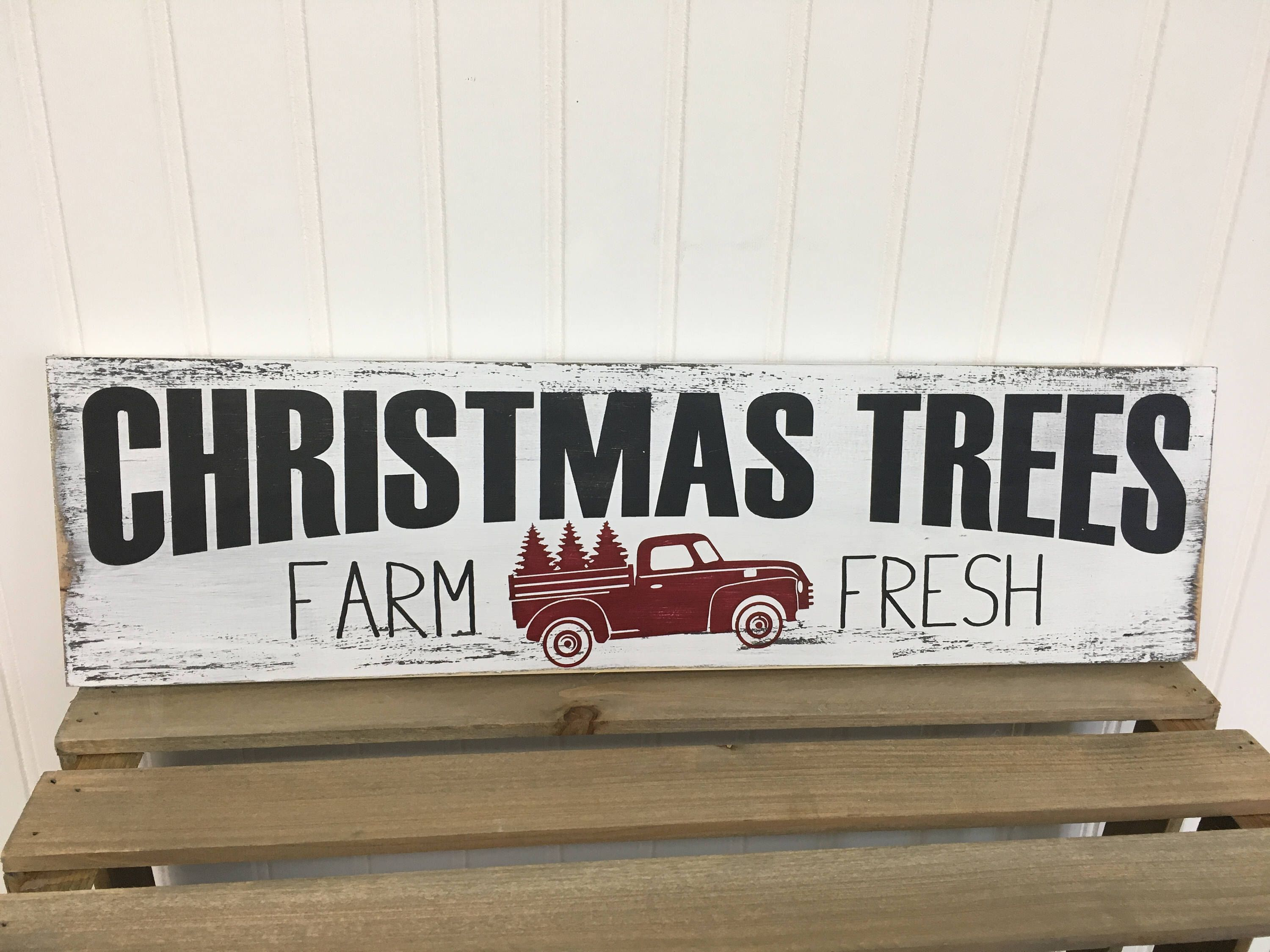 Farmhouse style Christmas Tree Farm wood sign in colors