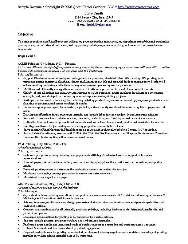 sample resume example print buyer printing teacer templates home