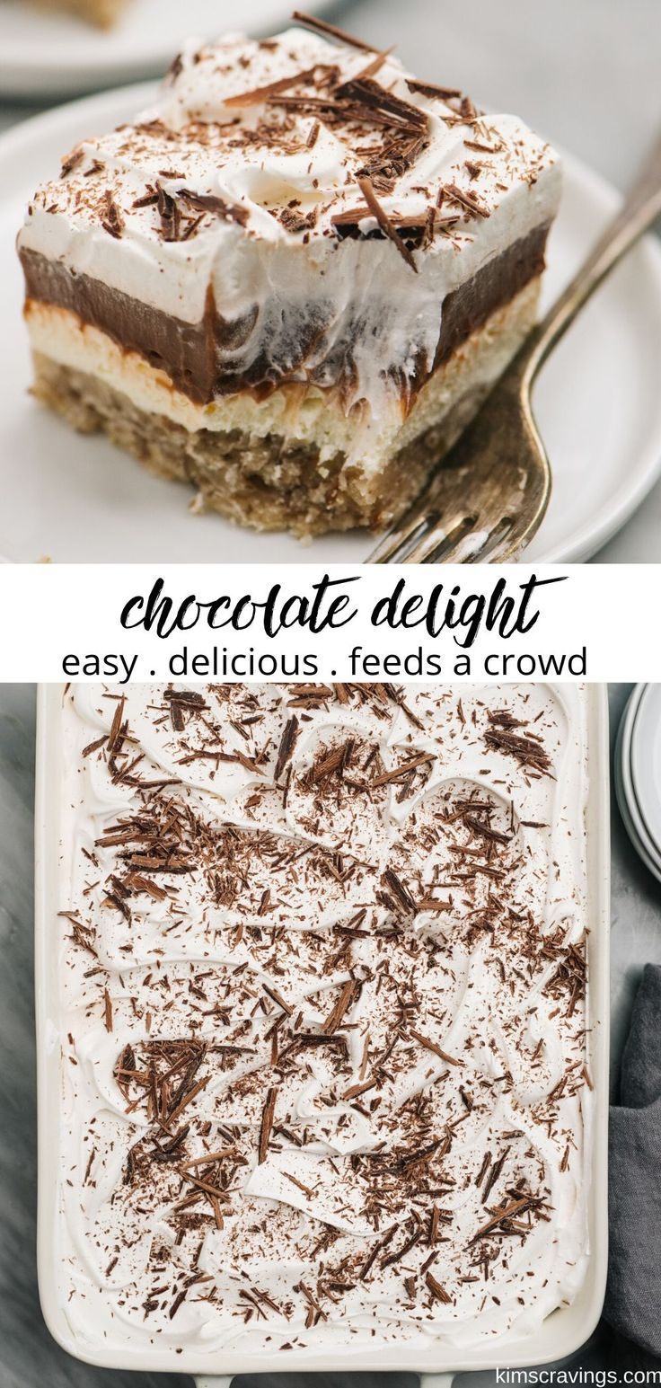 Chocolate Delight is a simple layered pudding dessert that looks impressive and tastes amazing, but is so easy to whip up! It's made with a pecan cookie crust that's topped with layers of cheesecake filling, pudding, and Cool Whip. This chocolate layered dessert is perfect for all of the chocolate lovers in your life. It's the perfect treat to make for the holidays and to bring to parties, and people always ask me for the recipe. #dessert #easy #chocolate #layered