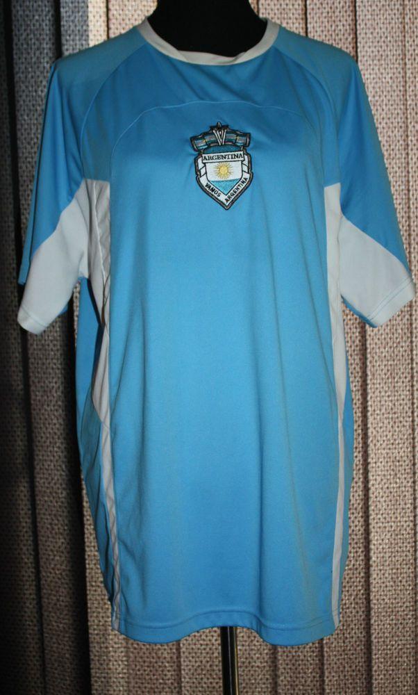 Argentina Soccer Jersey Size XL by Umbro Crest Logo Vamos Blue White Polyester #Umbro #Jerseys