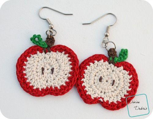 Apple Earrings free crochet pattern by DivineDebris.com | Crochet ...