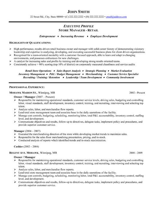 store manager sample resume