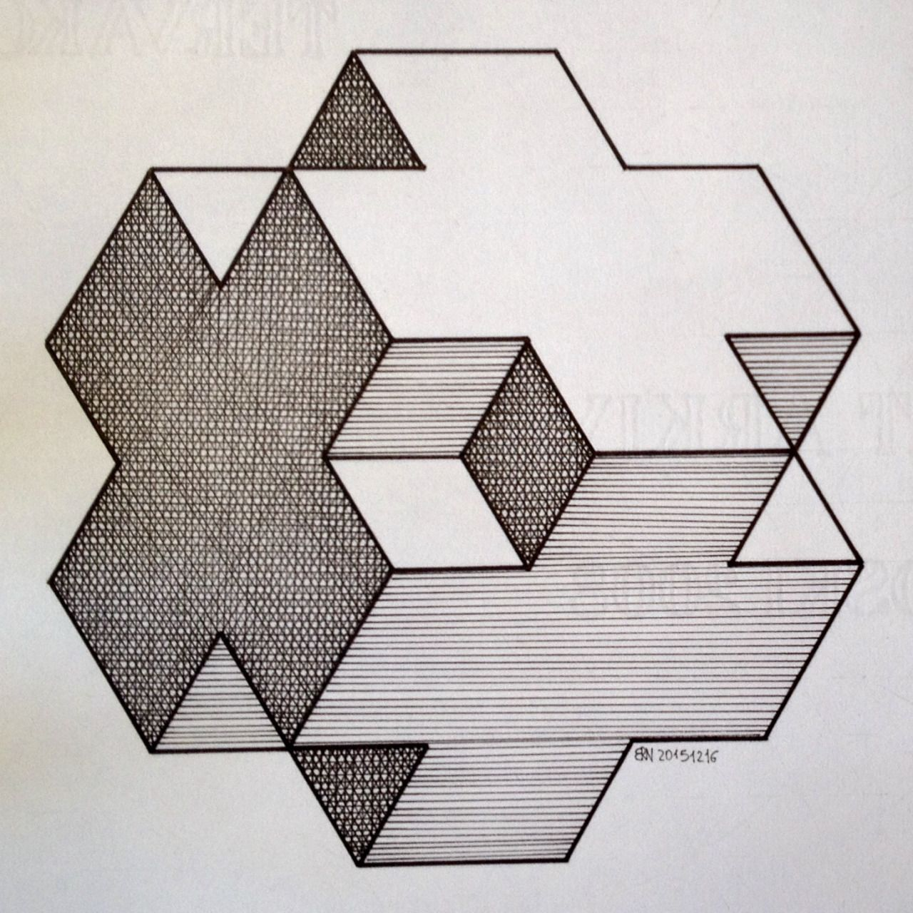 Рисунок кубиками и треугольниками