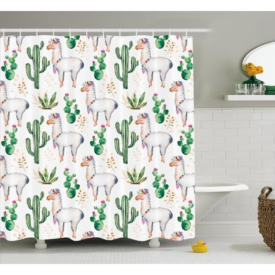 Ebern Designs Lindsey Hot South Desert Plant Cactus Pattern With Camel Animal Modern Colored Image Single Shower Curtain | Wayfair