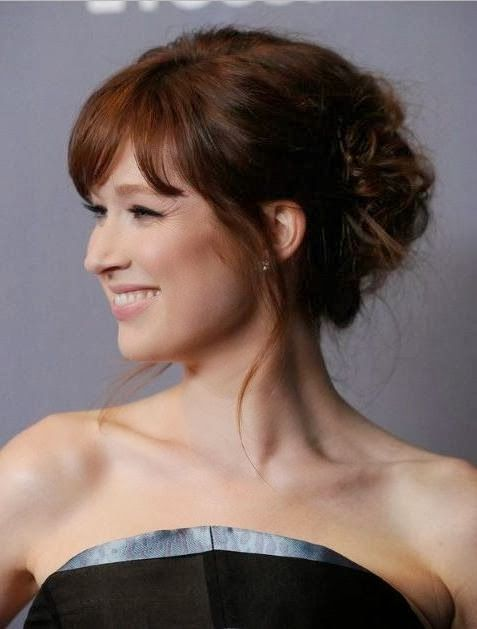Cute And Easy Updos For Short Hair Short Hair Updo Hairstyles With Bangs Short Hair With Bangs