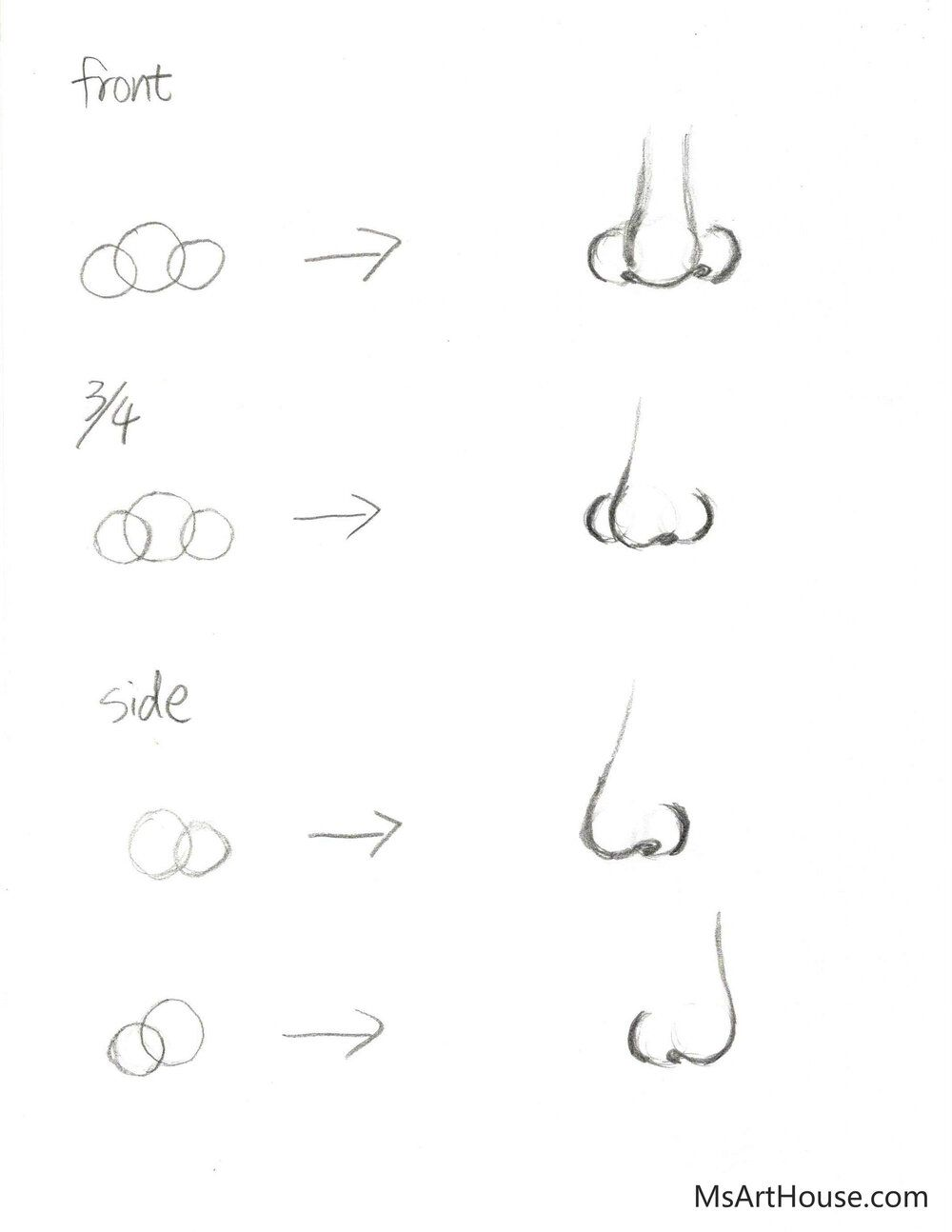 How To Draw Nose From Different Angles Easy Step By Step For Beginners Front View3 4 View Side View Manzi Liu Art In 2020 Nose Drawing Nose Drawing Easy Easy Sketches For Beginners