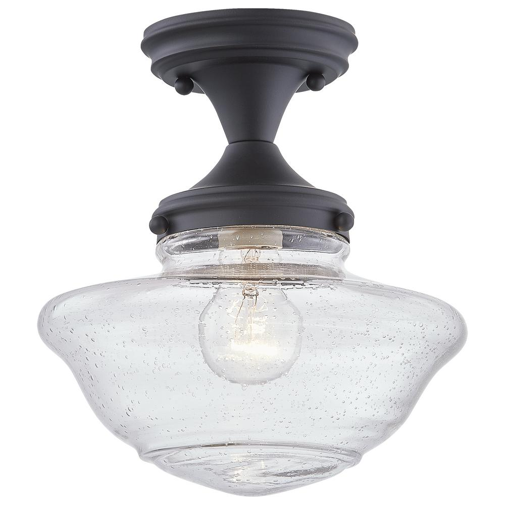 Design House Schoolhouse 9 in. 1Light Black SemiFlush