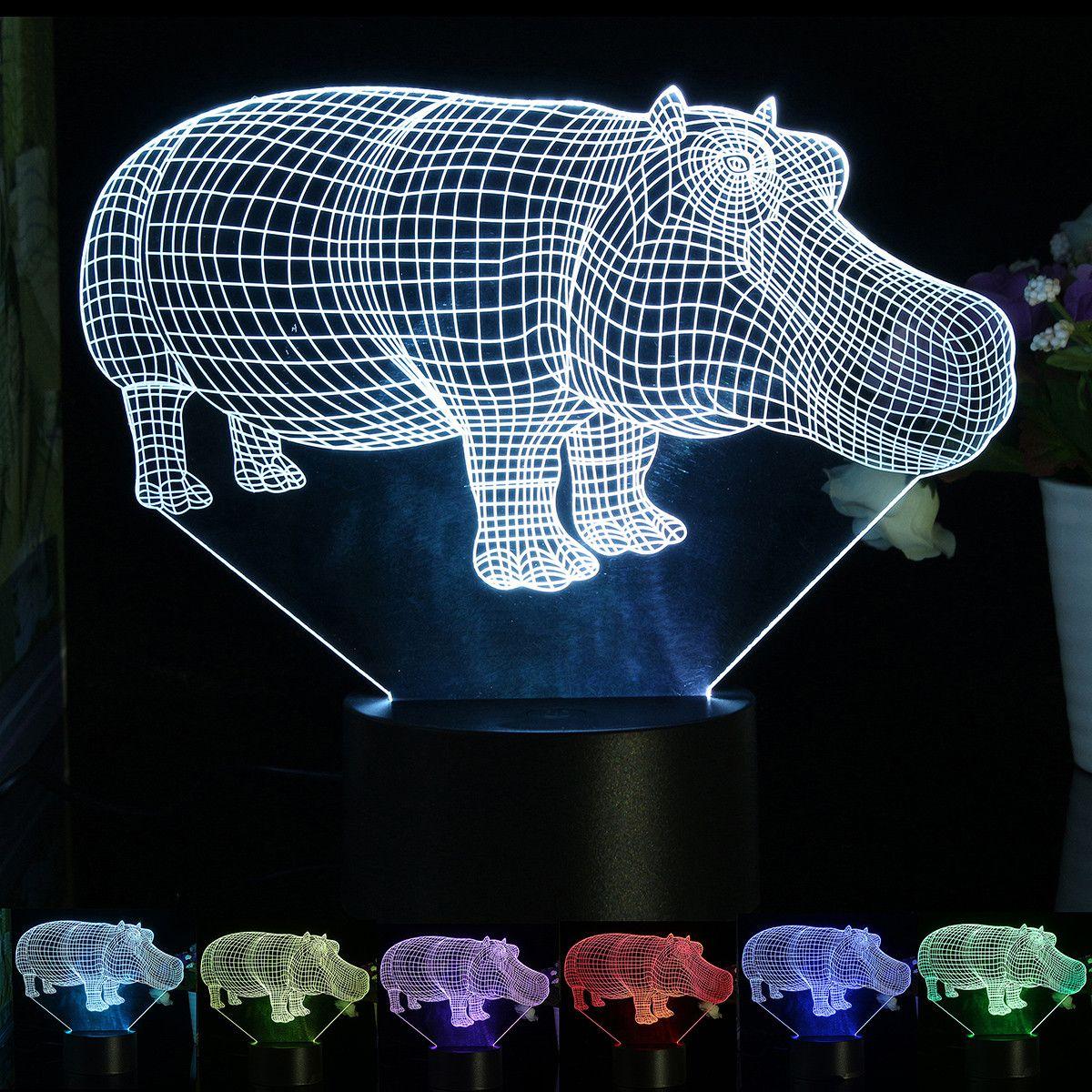 SUPERNIUDB 3D Hippo Night Light LED USB 7 Color Change LED Table Lamp Xmas Toy Gift