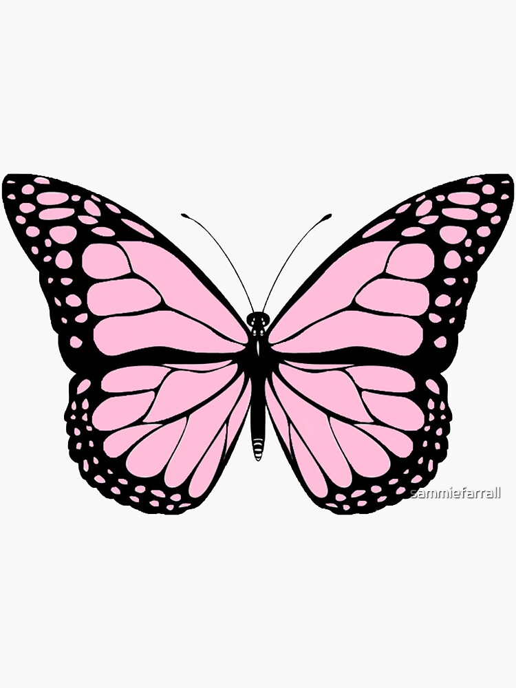 Pink Butterfly Png : butterfly, Butterfly, Sticker, Sammiefarrall, Redbubble, Painting,, Wallpaper, Iphone,, Drawing