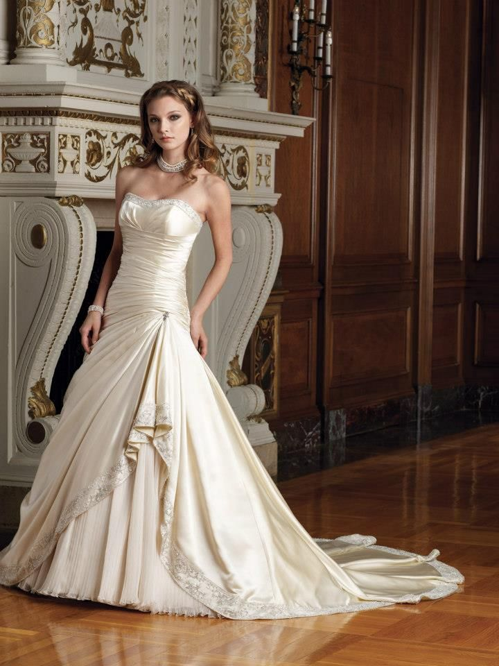 Satin Beaded Softly Curved Neckline A Line Wedding Dress