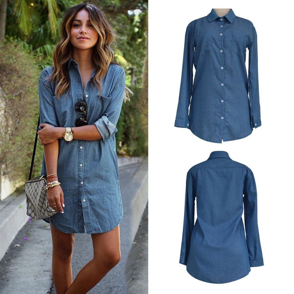 069700aea6c Fashion Women Long Sleeve Casual Loose Denim Short Mini Dress Jean T-Shirt  Skirt  Unbranded  ShirtDress  Casual
