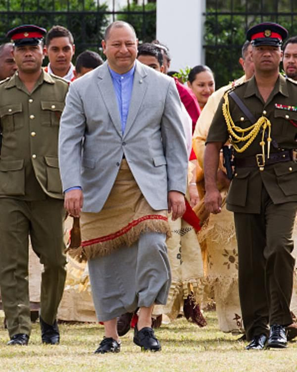 His Majesty, King Tupou VI arrives for traditional entertainment by school children on July 2, 2015 in Nukualofa, Tonga