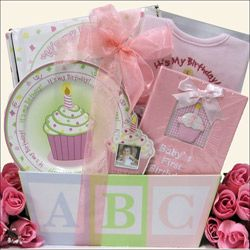 Great Arrivals Babys 1st Birthday Baby Girl Gift Basket