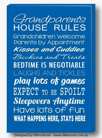 Grandparents Rules Canvases are perfect gifts for those special people in our kids lives - their grandparents.  Available in canvas and print form at http://www.olliesroom.com.au/Canvas-Prints-and-Bus-Scrolls-_c_151.html #olliesroom #grandparentsrules #print