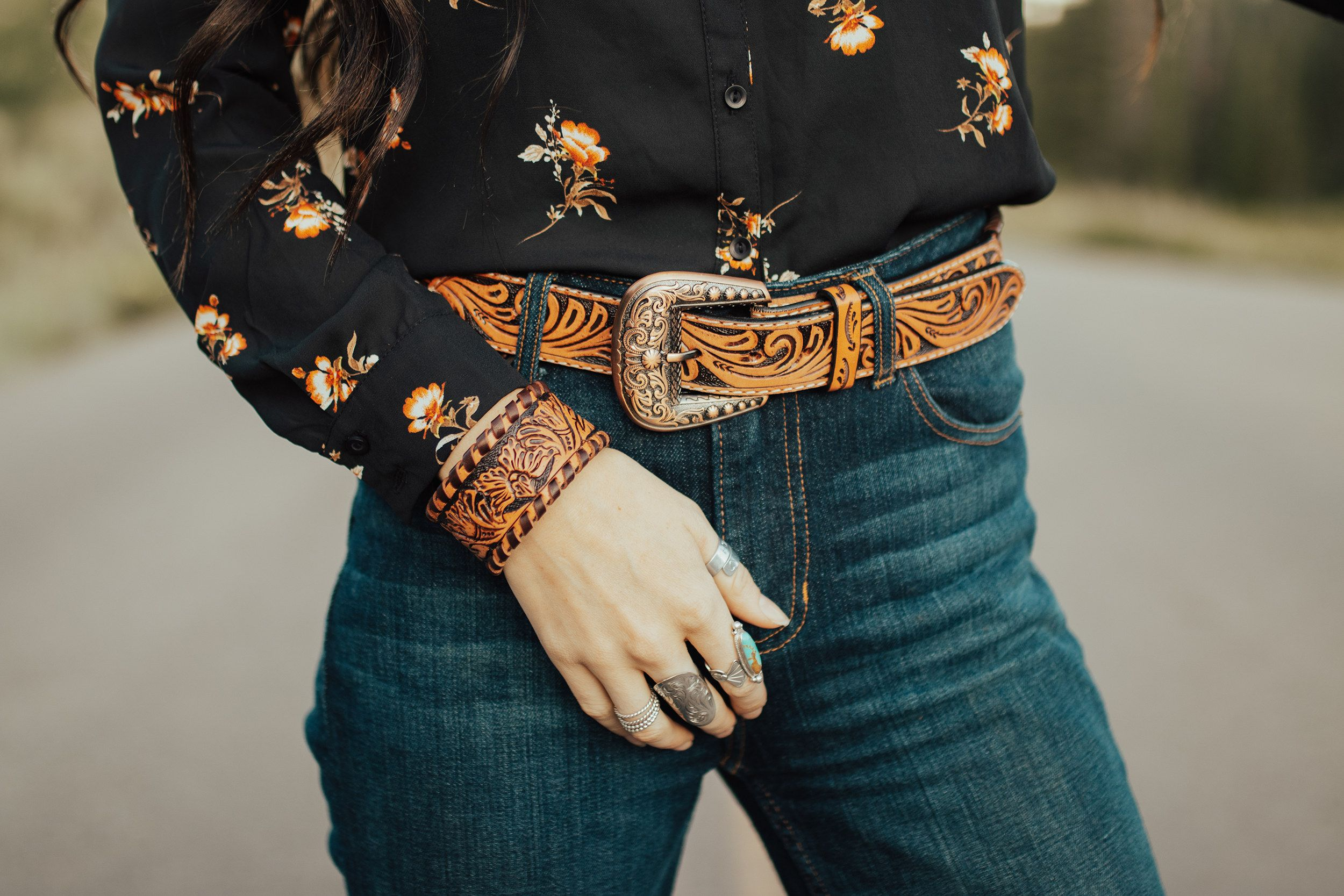 The perfect match - leather tooled belt and cuff