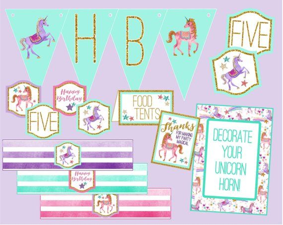 Unicorn Birthday Decoration Package Glitter Magical Party Digital