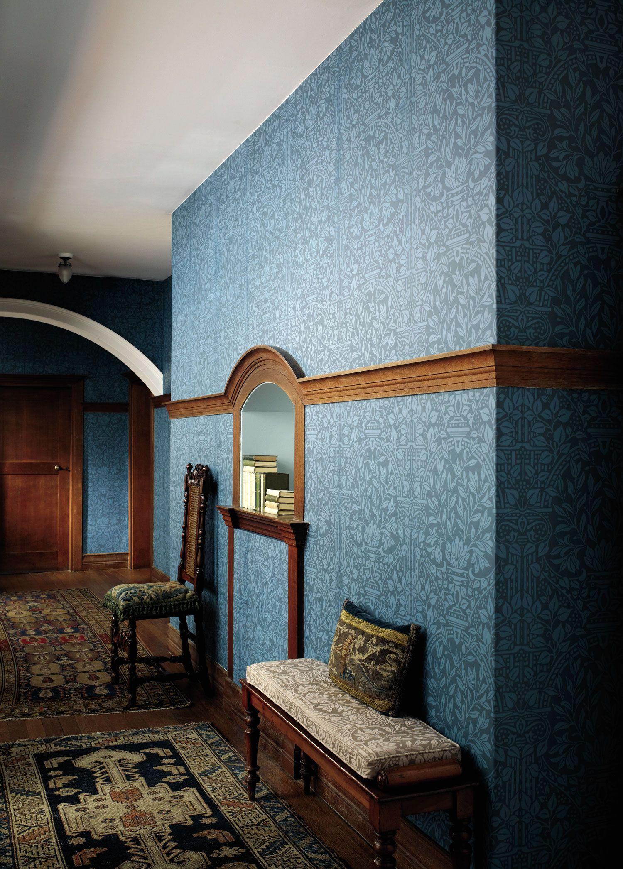 englische design tapeten william morris luxus papier tapete blau flur pinterest tapeten. Black Bedroom Furniture Sets. Home Design Ideas