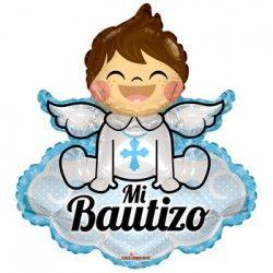 "Globo Metalizado  14"" Mi Bautizo Angel Celeste"