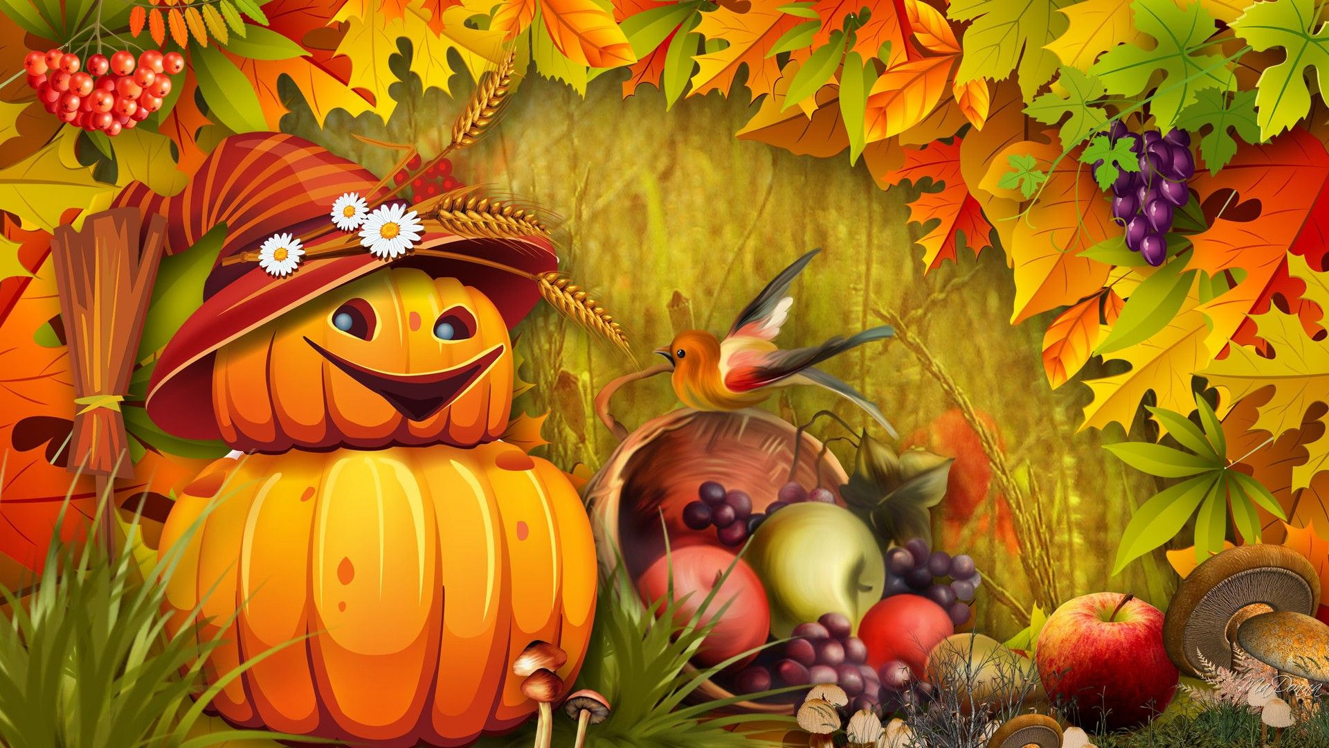 autumn wallpaper with pumpkins fall leaves pumpkins
