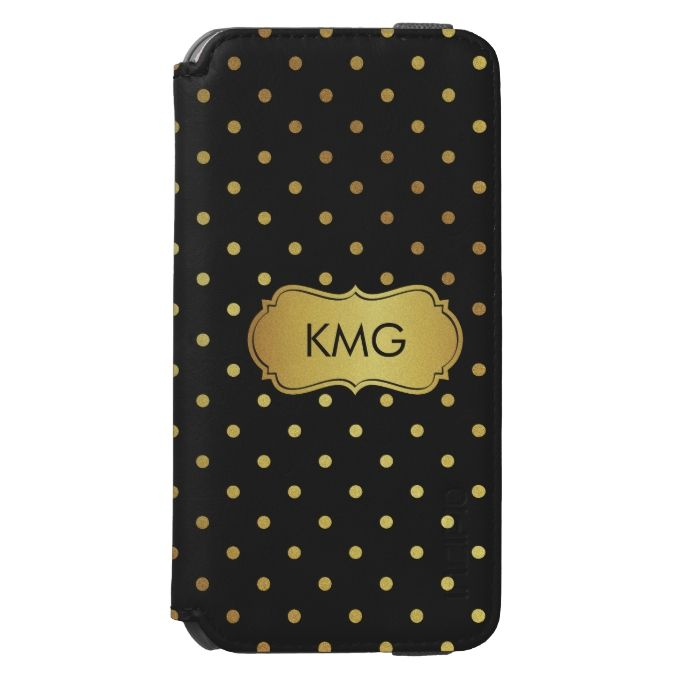 Fashionable Black Gold Glitter Dots Monograms Incipio Watson™ iPhone 6 Wallet Case