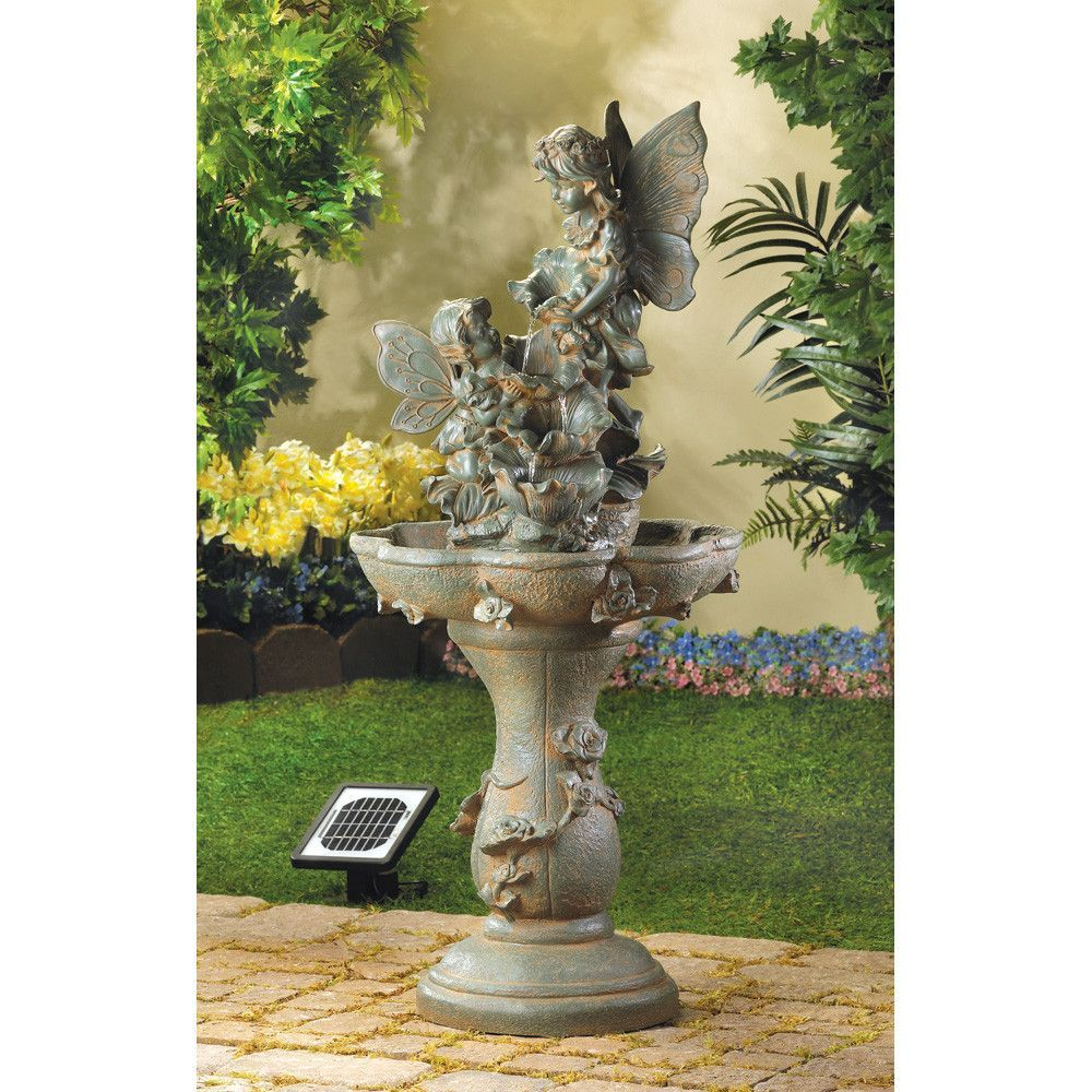 Garden water features solar power  FAIRY SOLAR WATER FOUNTAIN  Products  Pinterest  Fountain Solar