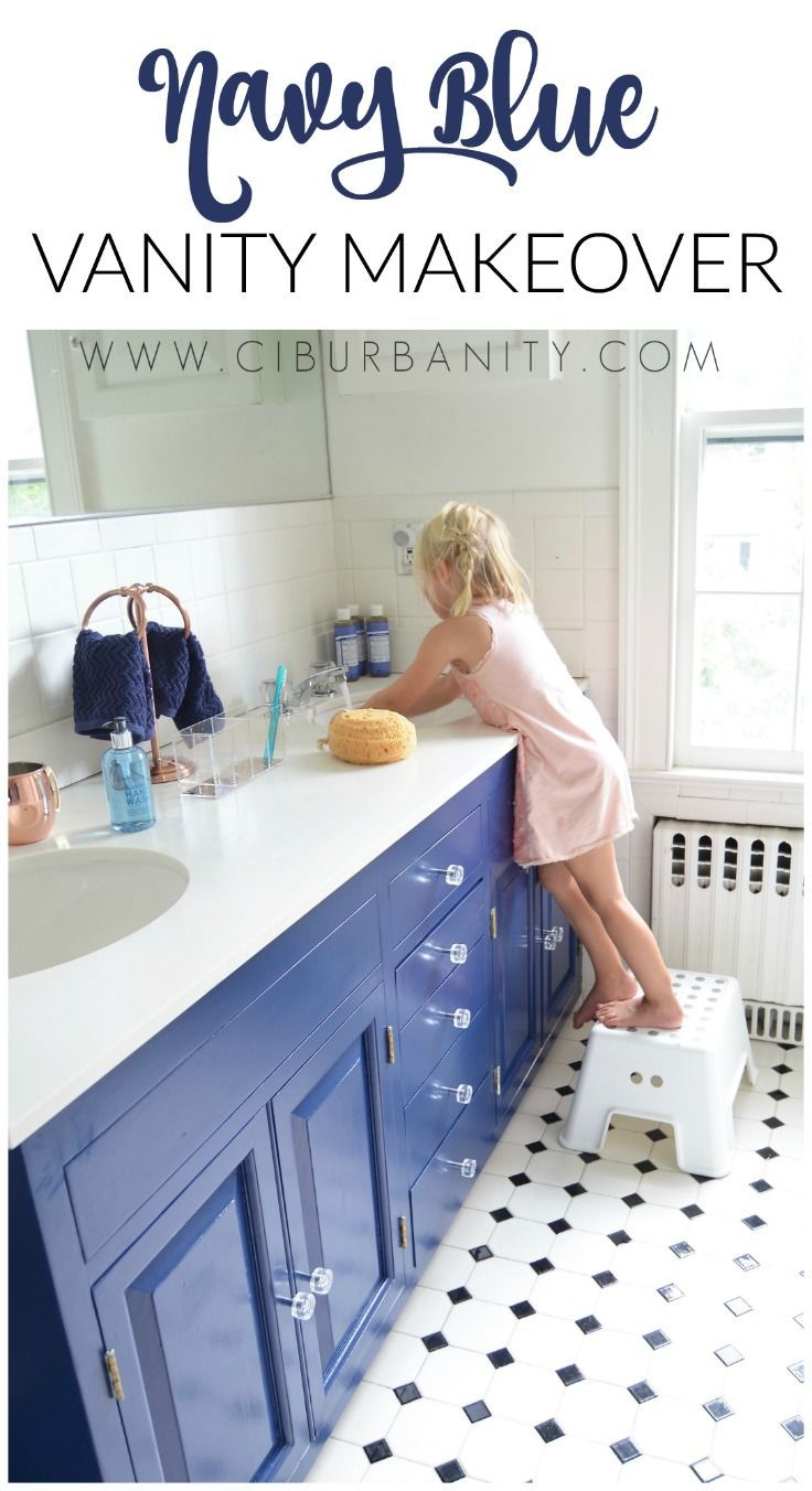 Navy Blue Vanity Makeover With Images Blue Vanity Vanity