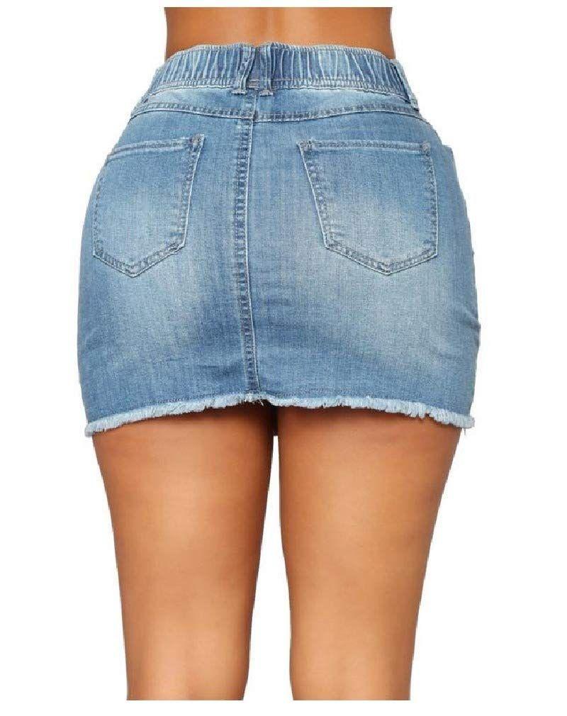 CuteRose Womens Strappy Slim Fit Denim Plus-Size High Waisted Stretch Shorts