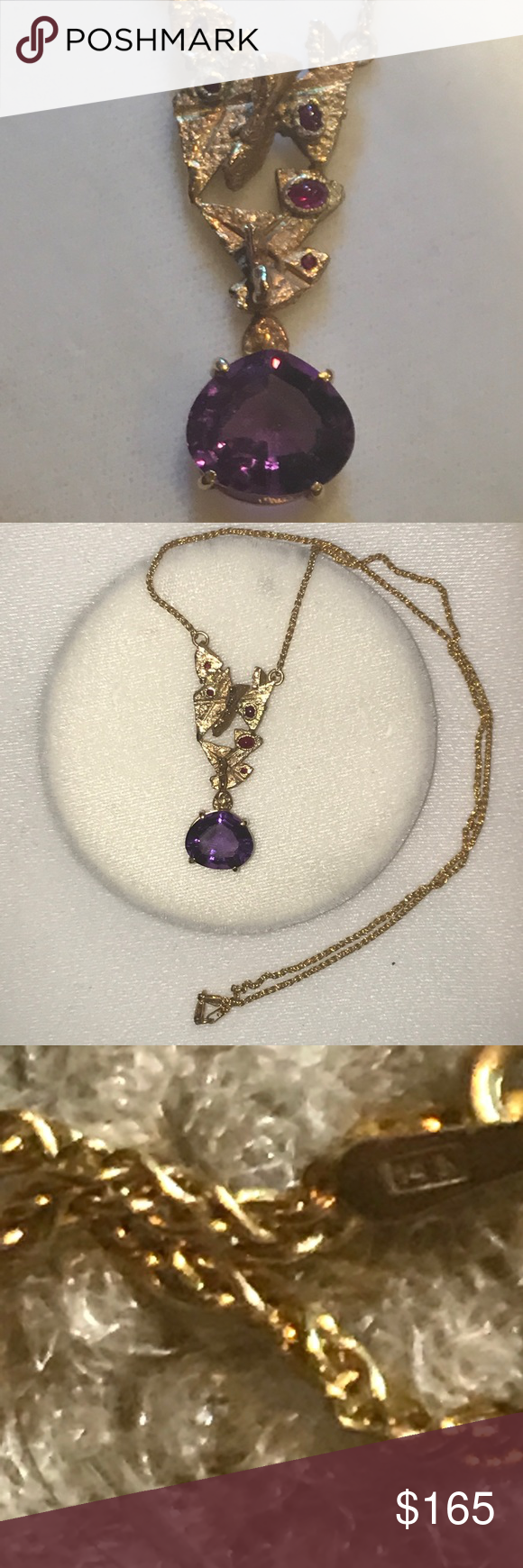 K gold amethyst and ruby necklace amethysts pendant set and