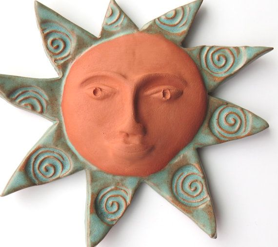Ceramic ~Ceramic Wall Art ~Pottery Sun ~Terracotta Sun Face ~Spirals ~small  Garden Sculpture ~Ceramic Wall Sculpture ~Wall Hanging ~green