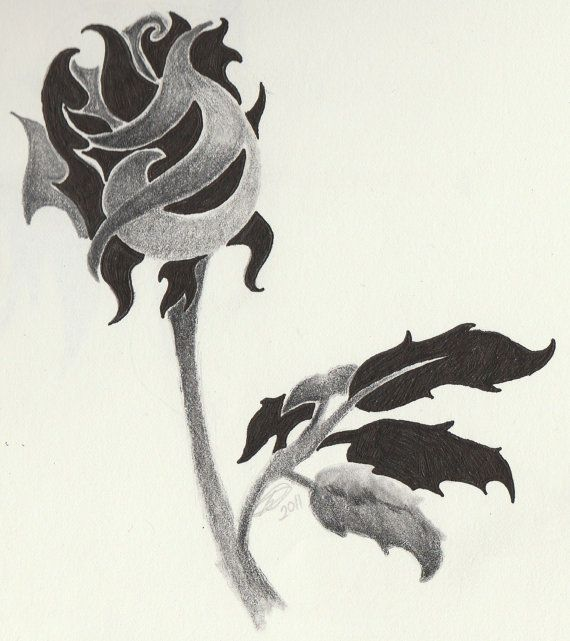 Tattoo Design Tribal Rose 5x5 Inch Original Drawing By