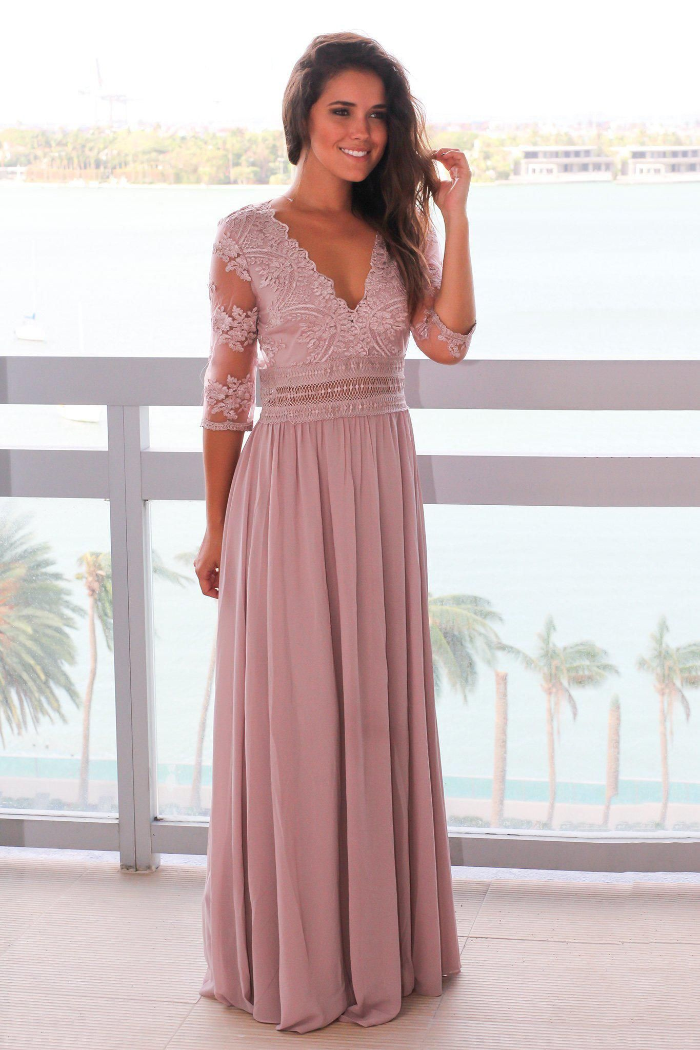 Taupe gray vneck maxi dress with mesh embroidered sleeves future