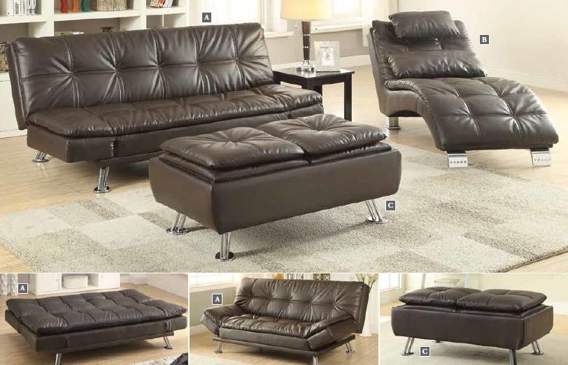 Brown 3 Piece Futon Sofa Bed